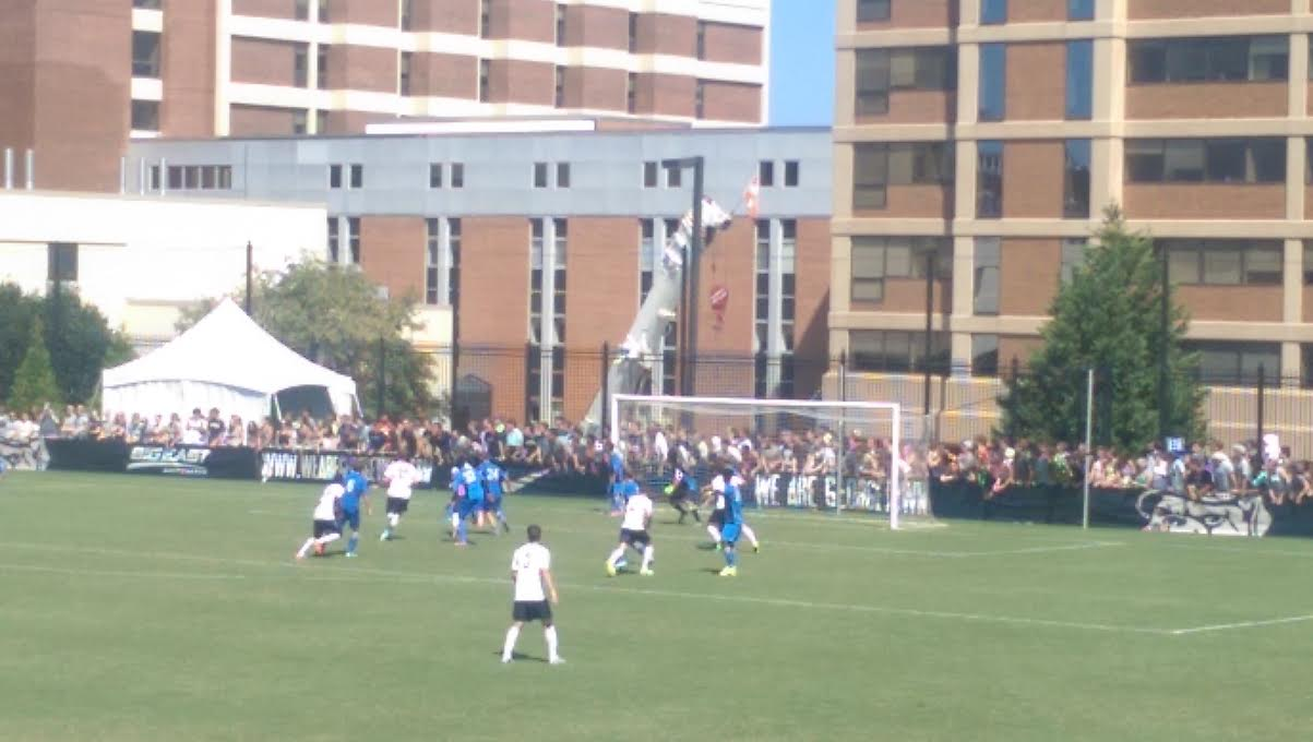 UCLA goalkeeper Juan Cervantes hears it from the home Georgetown fans