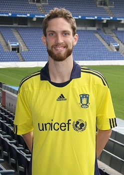 Clarence after signing for Brøndby IF in 2011