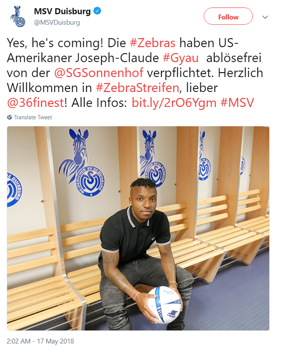 Joe Gyau to MSV Duisburg